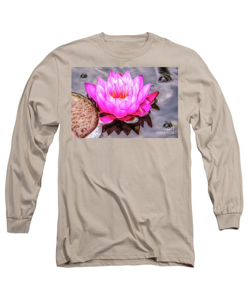 Water Lily In The Rain Long Sleeve T-Shirt