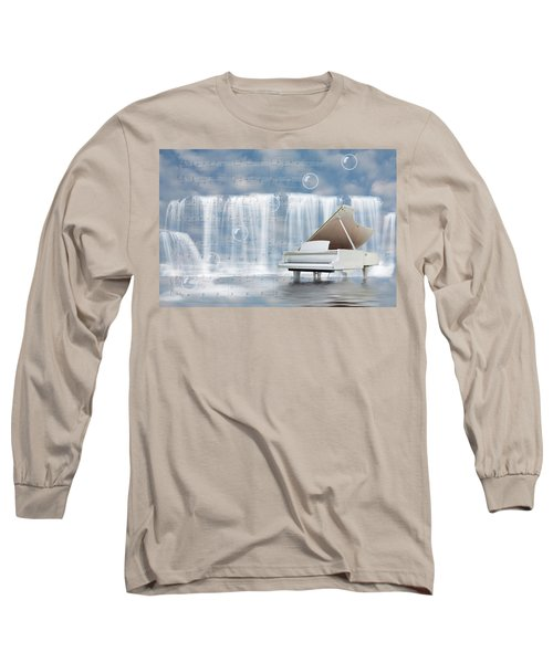 Water Synphony For Piano Long Sleeve T-Shirt by Angel Jesus De la Fuente