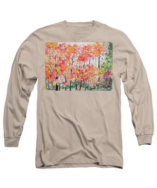 Watercolor - Autumn Forest Long Sleeve T-Shirt