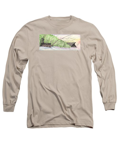 Watercolor Barn Long Sleeve T-Shirt by Darren Cannell