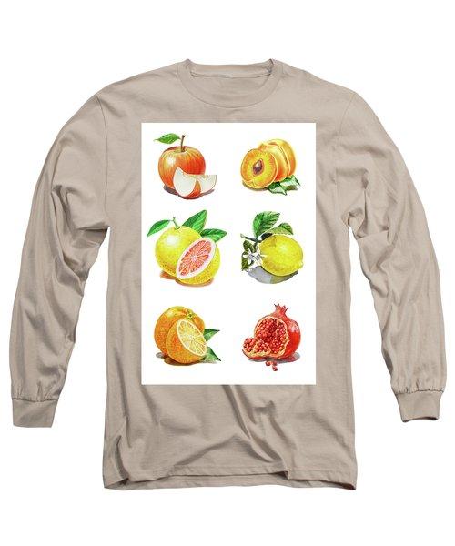 Watercolor Food Illustration Fruits Long Sleeve T-Shirt