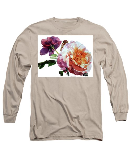 Watercolor Of Two Roses In Pink And Violet On One Stem That  I Dedicate To Jacques Brel Long Sleeve T-Shirt