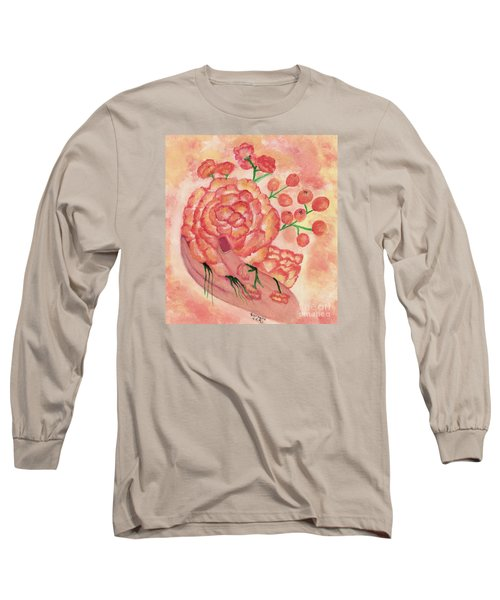Long Sleeve T-Shirt featuring the painting watercolor painting, FRAGILE by Saribelle by Saribelle Rodriguez