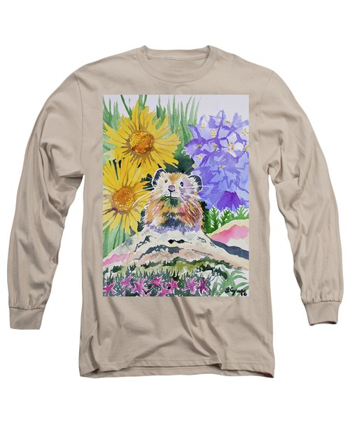 Watercolor - Pika With Wildflowers Long Sleeve T-Shirt