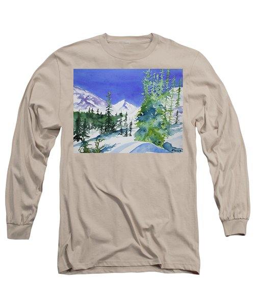Watercolor - Sunny Winter Day In The Mountains Long Sleeve T-Shirt