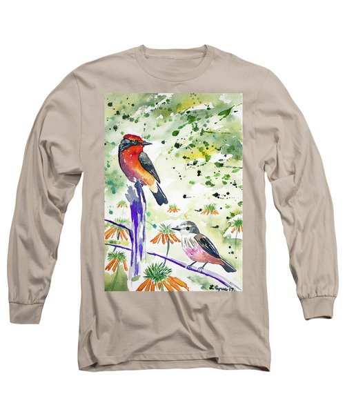 Watercolor - Vermilion Flycatcher Pair In Quito Long Sleeve T-Shirt