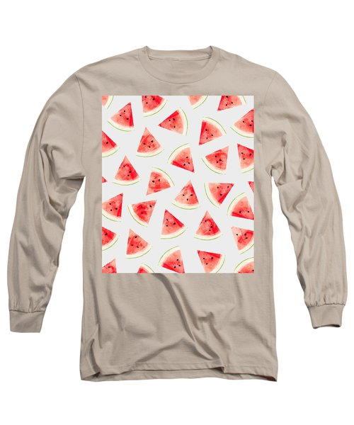 Watercolor Watermelon Pattern Long Sleeve T-Shirt
