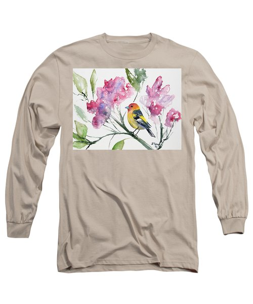 Watercolor - Western Tanager In A Flowering Tree Long Sleeve T-Shirt