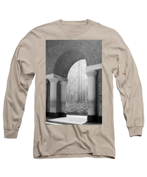 Waterwall And Arch 3 In Black And White Long Sleeve T-Shirt
