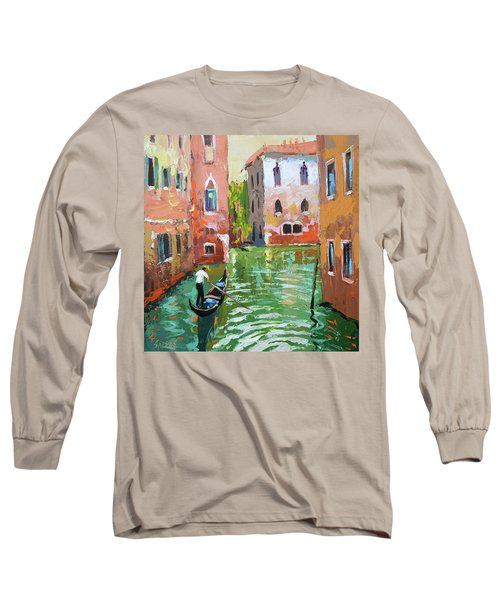 Wave Under The Oars Of The Gondola, City Scene. Long Sleeve T-Shirt
