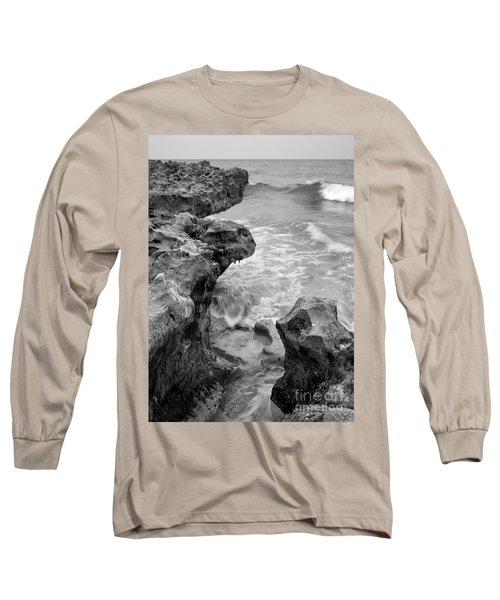 Waves And Coquina Rocks, Jupiter, Florida #39358-bw Long Sleeve T-Shirt