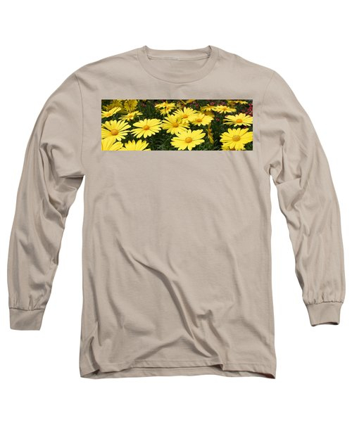 Waves Of Yellow Daisies Long Sleeve T-Shirt by Bruce Bley