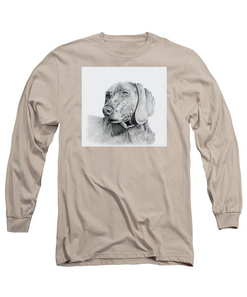 Long Sleeve T-Shirt featuring the drawing Weimaraner by Terri Mills