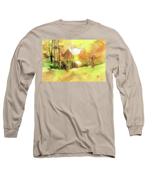 Long Sleeve T-Shirt featuring the painting Welcome Winter by Anil Nene