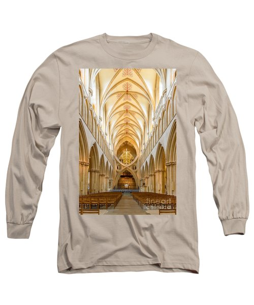 Wells Cathedral Nave Long Sleeve T-Shirt by Colin Rayner