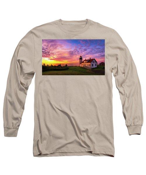 West Quoddy Head Light Long Sleeve T-Shirt by Robert Clifford