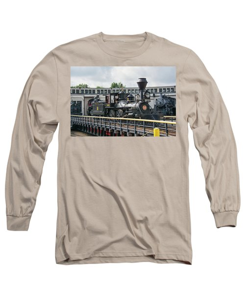 Western And Atlantic 4-4-0 Steam Locomotive Long Sleeve T-Shirt by John Black