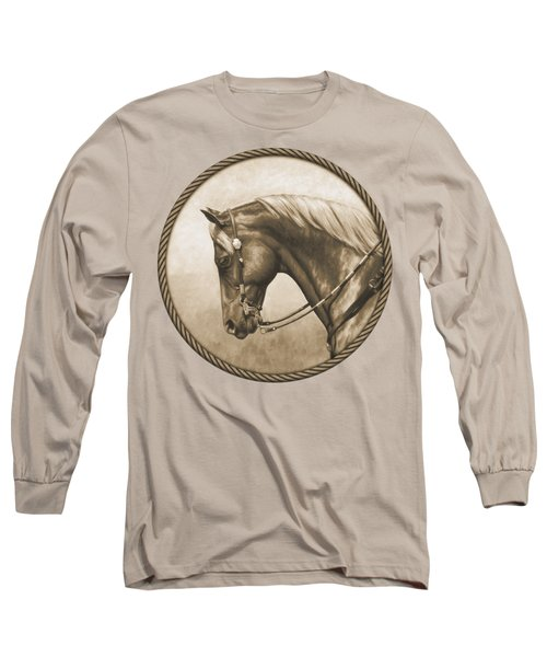 Western Pleasure Quarter Horse In Sepia Long Sleeve T-Shirt