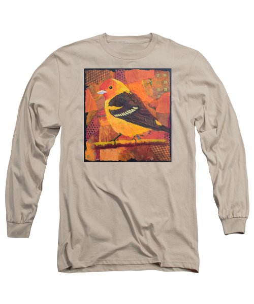 Long Sleeve T-Shirt featuring the painting Western Tanager by Nancy Jolley