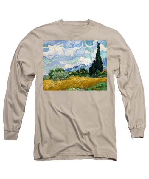 Wheat Field With Cypresses Long Sleeve T-Shirt