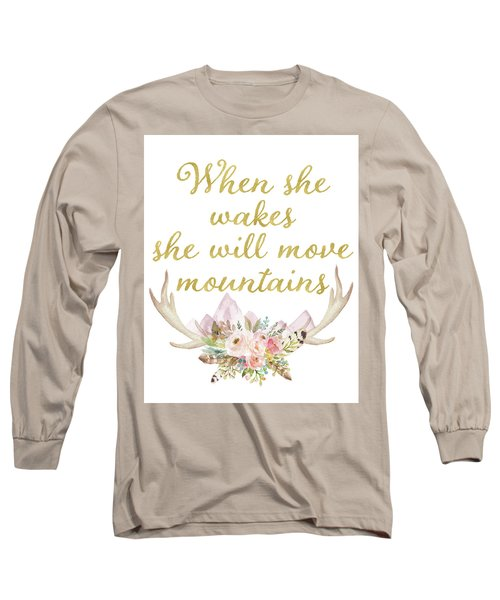 When She Wakes She Will Move Mountains Deer Antlers Long Sleeve T-Shirt