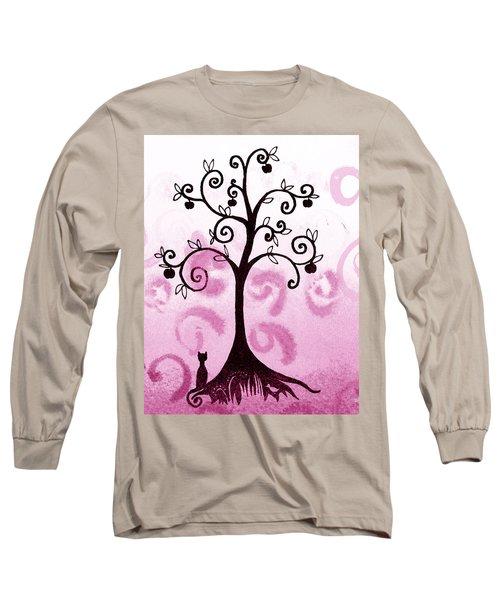 Whimsical Apple Tree Long Sleeve T-Shirt