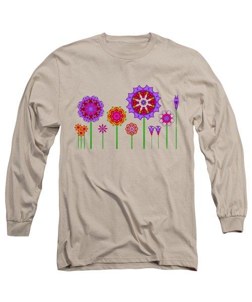 Whimsical Fractal Flower Garden Long Sleeve T-Shirt
