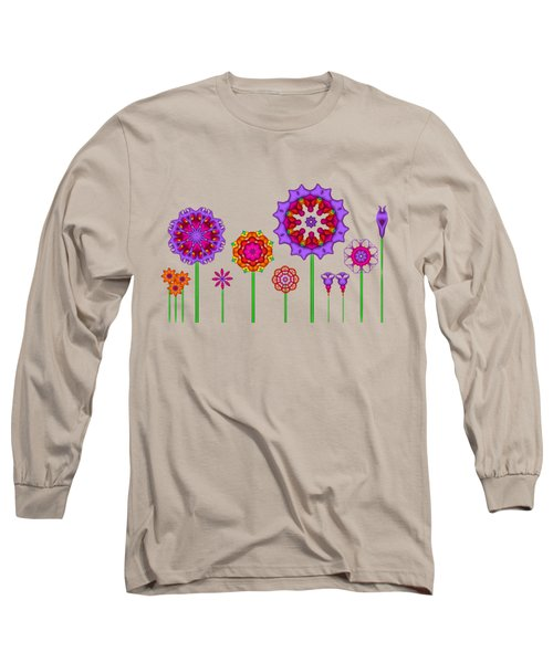 Whimsical Fractal Flower Garden Long Sleeve T-Shirt