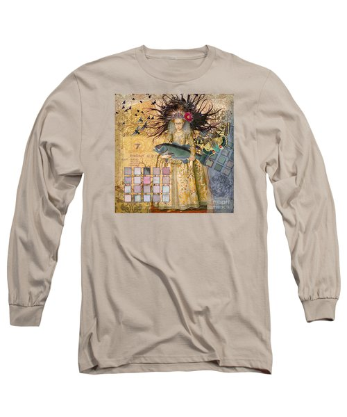 Whimsical Pisces Woman Renaissance Fishing Gothic Long Sleeve T-Shirt by Mary Hubley