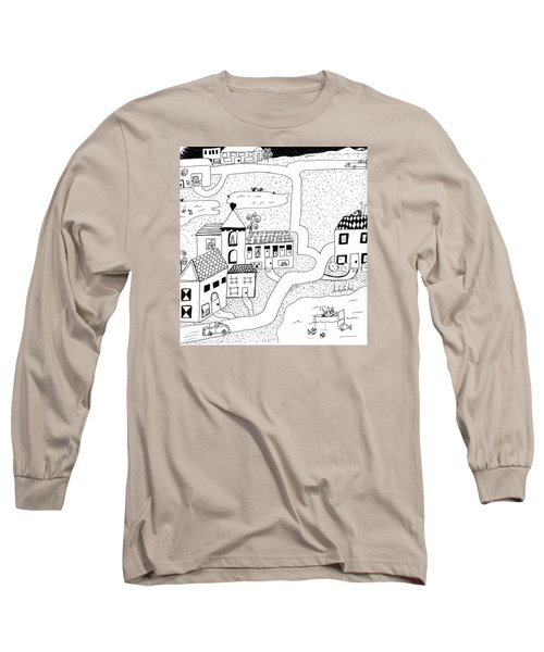 Long Sleeve T-Shirt featuring the painting Whimsy Town by Lou Belcher