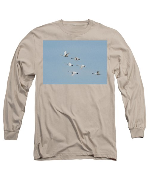 Whistling Swan In Flight Long Sleeve T-Shirt