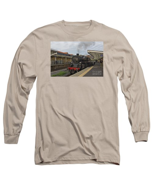 Whitby Station Long Sleeve T-Shirt by David  Hollingworth
