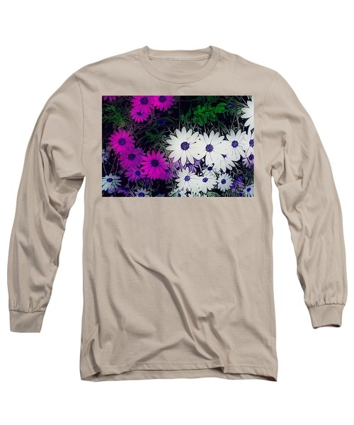 White And Purple Daisy Flower Long Sleeve T-Shirt