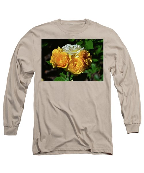 White And Yellow Rose Bouquet 001 Long Sleeve T-Shirt