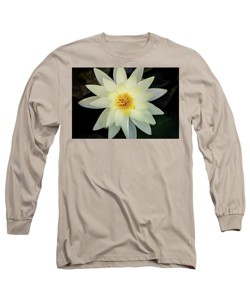 White And Yellow Water Lily Long Sleeve T-Shirt