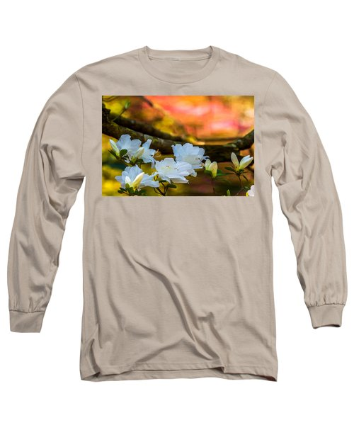 White Azaleas In The Garden Long Sleeve T-Shirt by John Harding