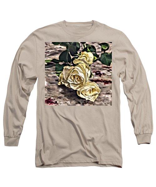 White Baby Roses Long Sleeve T-Shirt