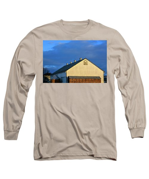White Barn At Golden Hour Long Sleeve T-Shirt