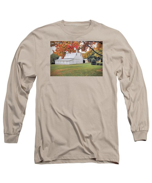 White Barn In Autumn Long Sleeve T-Shirt by Marion Johnson
