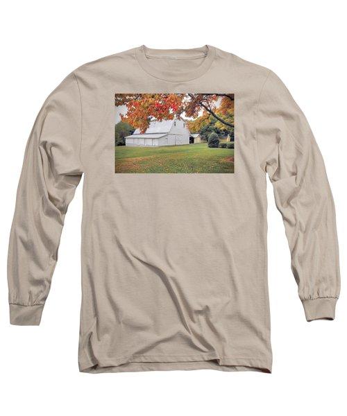 White Barn In Autumn Long Sleeve T-Shirt