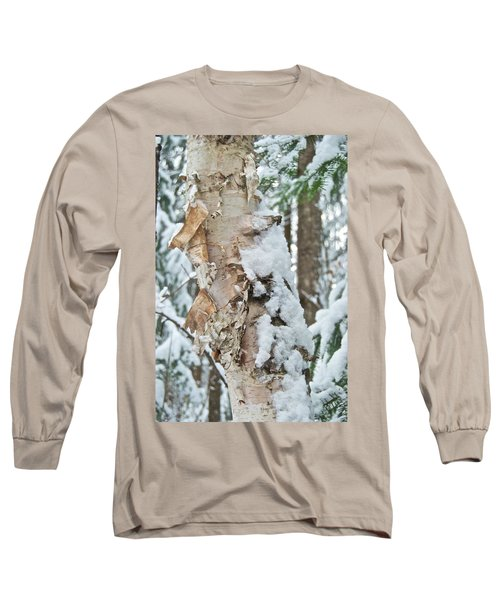 White Birch With Snow Long Sleeve T-Shirt by Michael Peychich