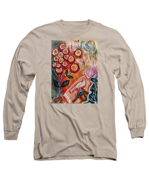 Long Sleeve T-Shirt featuring the mixed media White Bird by Mimulux patricia no No