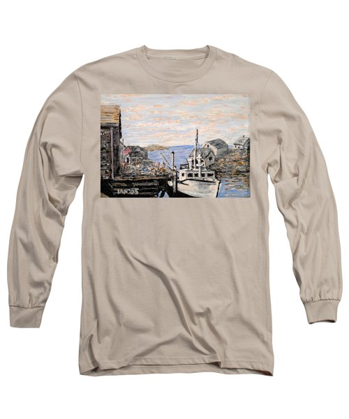 Long Sleeve T-Shirt featuring the painting White Boat In Peggys Cove Nova Scotia by Ian  MacDonald