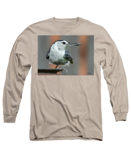White-breasted Nuthatch With Sunflower Seed Long Sleeve T-Shirt