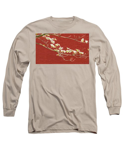 White Dogwood Brick Wall Long Sleeve T-Shirt