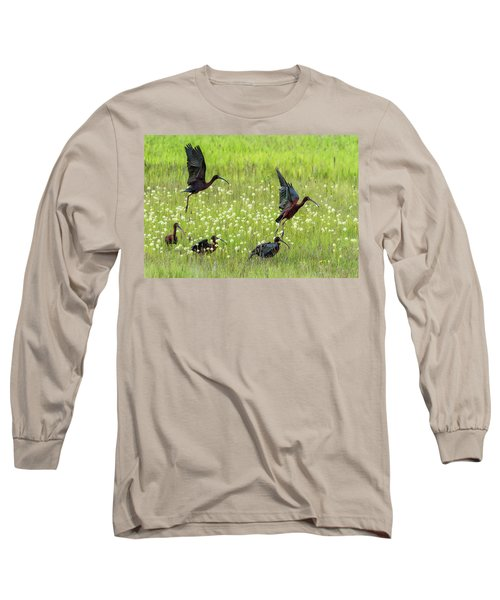 White-faced Ibis Rising, No. 1 Long Sleeve T-Shirt by Belinda Greb