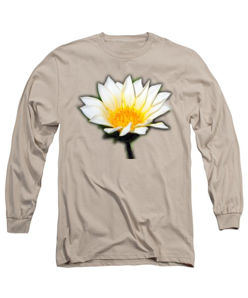 White Flower T-shirt Long Sleeve T-Shirt by Isam Awad