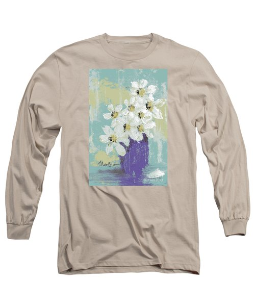 White Flowers Long Sleeve T-Shirt by P J Lewis