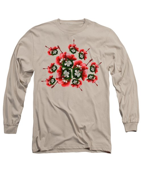 White Full Blossom Malvaceae Hibiscus Flower With Leaves Long Sleeve T-Shirt