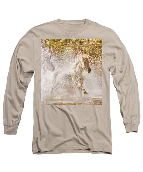 White Wild Horse In Water Long Sleeve T-Shirt